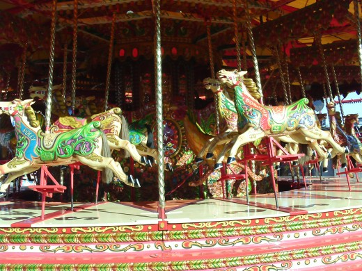 The merrygoround, such a classic fairground ride, I remember someone being scared of all the horse faces...ha ha!