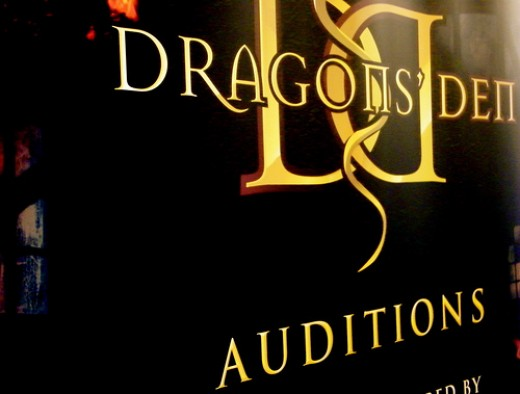 Dragons Den TV Auditions Sign.