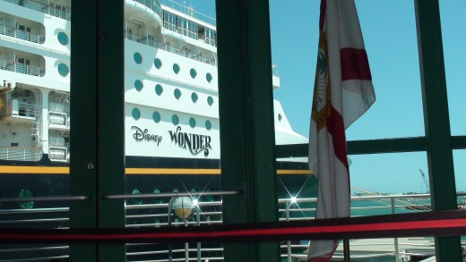 A view of the Disney Wonder before boarding.
