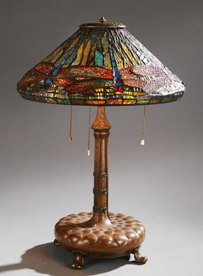 Tiffany Dragonfly Lamp, circa 1902 via Quinn's Auction Galleries www.quinnsauction.com