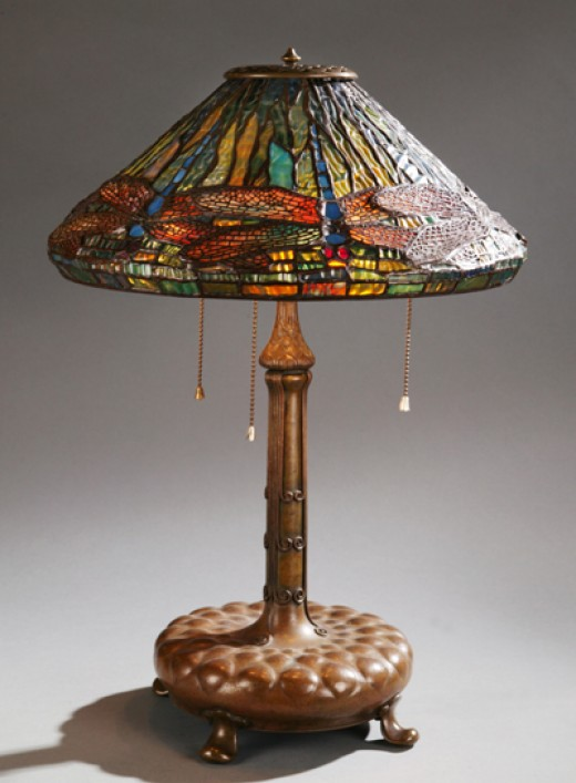 Tiffany Dragonfly Lamp, circa 1902 via Quinn's Auction Galleries www.quinnsauction.com