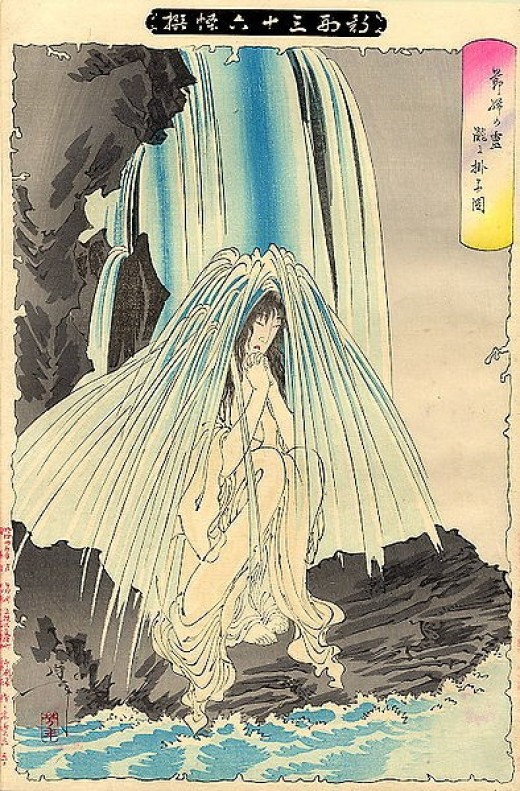 Japanese Ghost Art: Yoshimitsu Spirit in The Water from Wikimedia.org