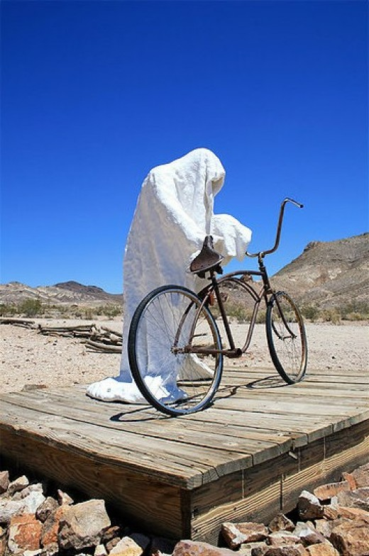 Ghost Art Photograph: Ghost Rider Rhyolite from Wikimedia.