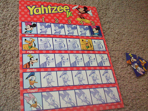 Yahtzee Jr Game with pictures