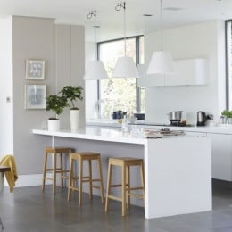 Choosing a Breakfast Bar Design: Breakfast bar stools under the breakfast bar.