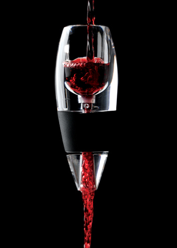 Hold it over a glass and pour the wine through, mixing the proper amount of air. The result is a better bouquet, richer flavor, and smoother finish.