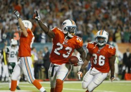 Ronnie Brown celebrates after scoring the winning TD against the Jets.