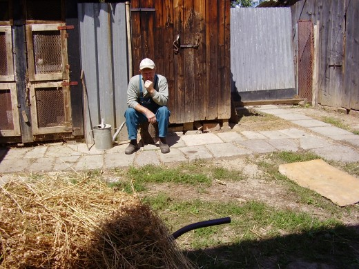 A Slovak farmer loosing all his livehood confiscated by the socialist farming cooperative during the communist era. What else is there to do?