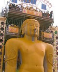 Upper half of the same statue, during -great bathing ceremoney(Mahamasthakabhisheka)which is held only once in 12 years.