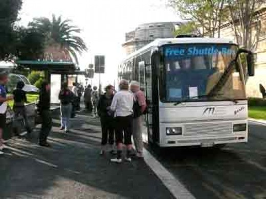 Free shuttle buses operate between the port entrance and the three different cruise terminals
