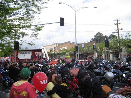 The huge crowd at the Motorcycle Run