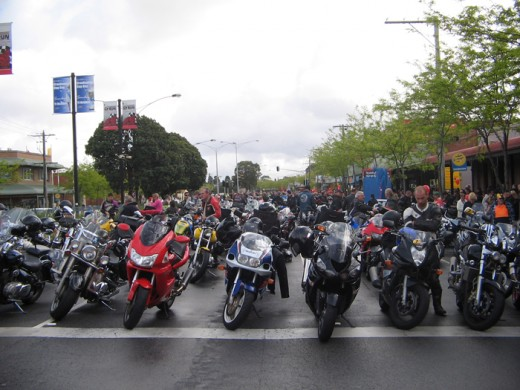Motorbikes lined up ready to go