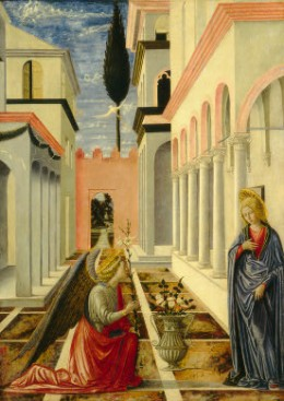 """""""Annunciation"""" by Fra Carnevale; white lilies symbolize the Virgin Mary)"""