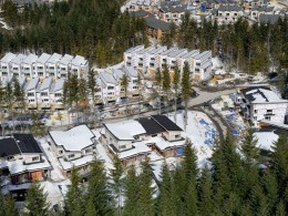 Aerial view of the snow covered Whistler Olympic Village (courtesy vancouver2010.com)