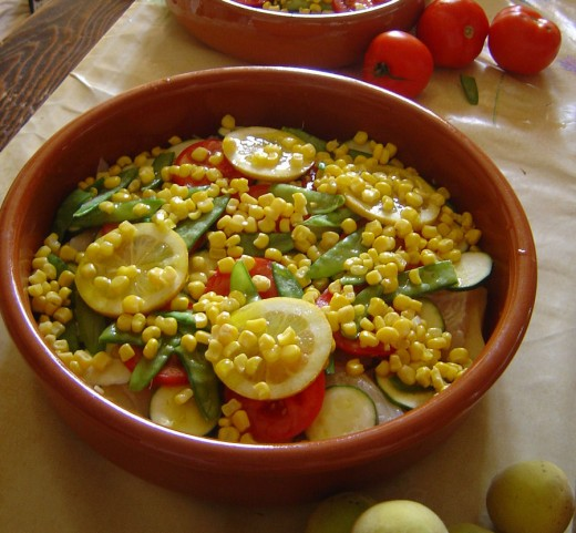 Fish dish with mange-tout and sweetcorn