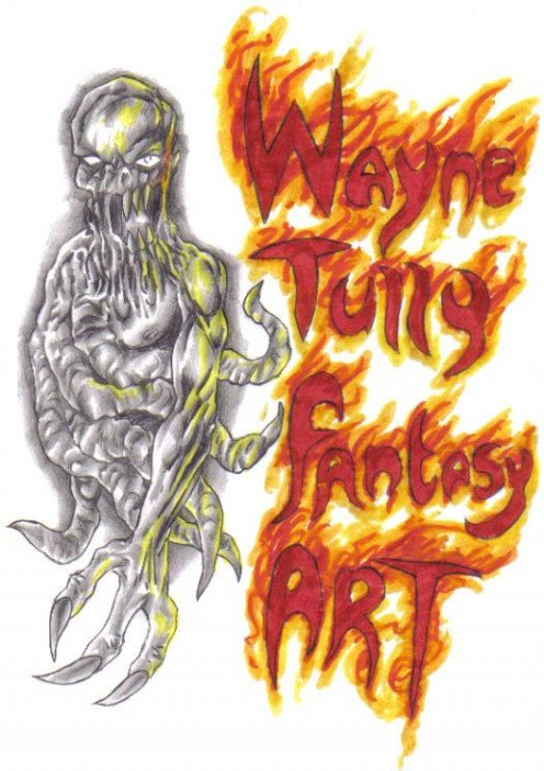 Fantasy art blog header graphic before needing the Gimp touch. Copyright Wayne Tully 2009