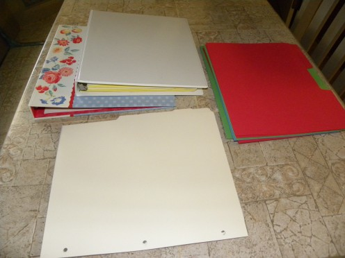 My tools were two 3-ring binder notebooks, dividers for the notebooks, and some bright colored paper folders.