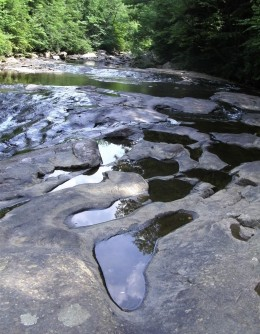 Pools of water on the rocks at Meadow Run.