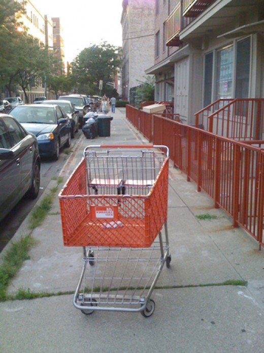 This cart has escaped the herd and is wondering about the streets.