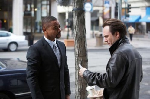 """Wes Wilson meets Issac Kahn outside of Samantha's attorney's office - scene from """"Lies and Illusions""""."""