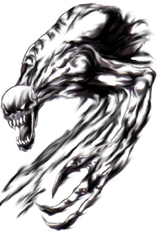 A Smudge here and there made this old demon drawing look more sharper.Copyright Wayne Tuly 2009