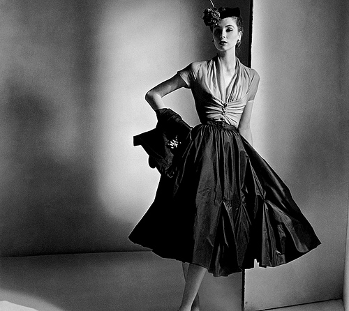 A Dior model in the early 1950's