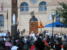 Bishops and priests celebrating Mass in front of the newly designated Basilica of San Albino in Mesilla, NM