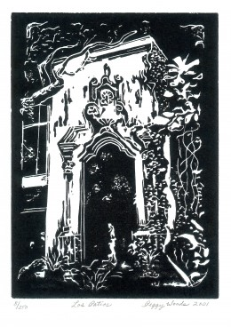 My limited edition linocut of the famous Katy Railroad window at Los Patios