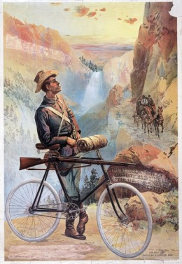 Print shows a man, with a bicycle to which a rifle is fastened, standing on a mountain path, watching a stagecoach on a lower trail; waterfalls in background.