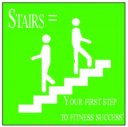 Steps to Save our Health - White Staircase with Two people with Lime Green Background