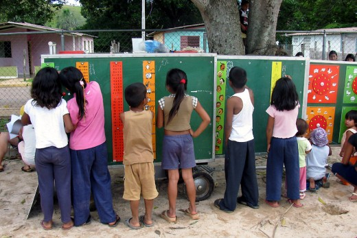 This is the mobile school. We took along this green wagon thing and onto it attached these exercises.