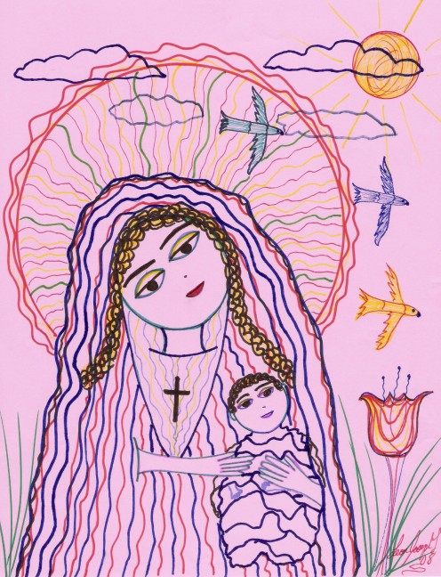 Sketch of Mother of God. My Drawing.