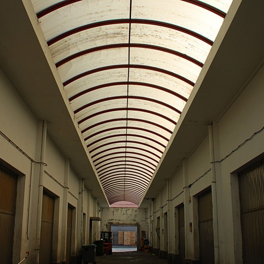A vaulted roof.
