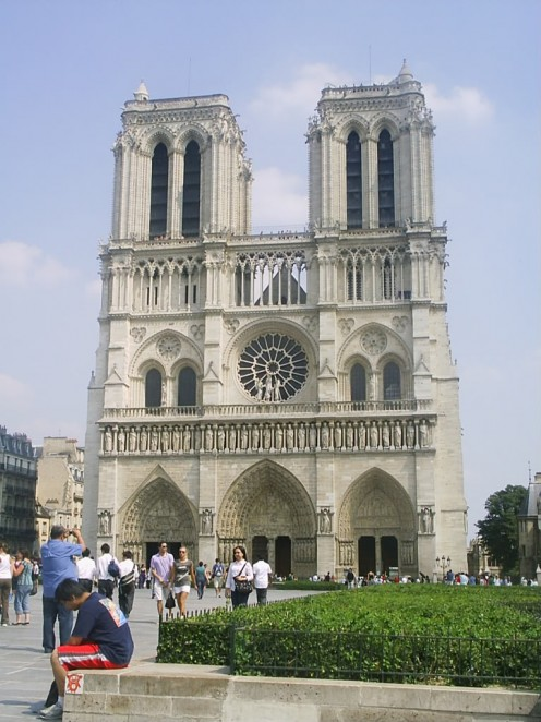 The front facade of Cathedral de Notre Dame