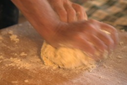 Repeatedly knead the dough: working it with your fingers is NOT enough. Break the dough by pushing it with the palm of your hand, roll it and repeat until ..