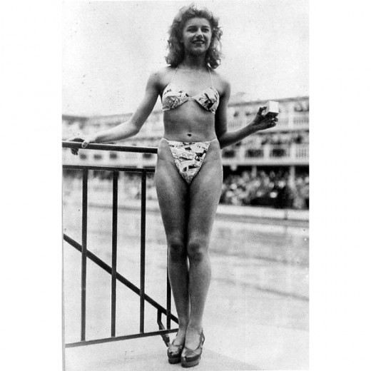 Micheline Bernardini modelling the very first bikini in 1946.