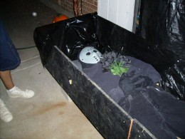 A zombie laying in its casket on Halloween
