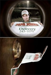 Agency: Saatchi & Saatchi, Peru           This ad from Papa John's recently won gold at the Cannes International advertising awards for their clever picture.
