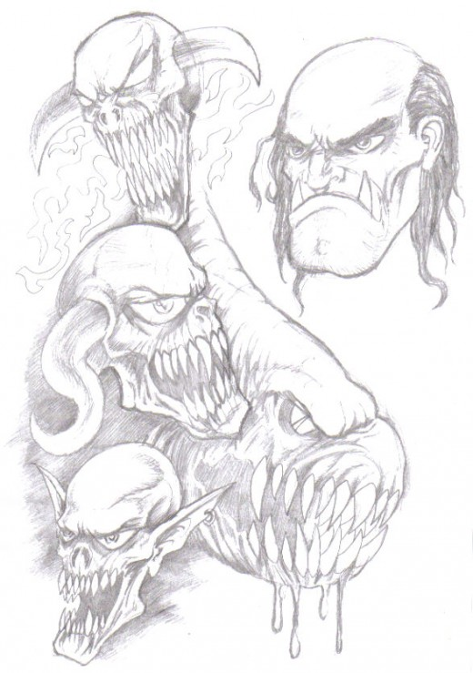 Demons and devils pencil drawings. Copyright Wayne Tully 2009.