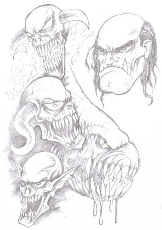 Demons and Devils Drawings