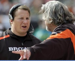 Cleveland Browns coach Eric Mangini, left, talks with defensive coordinator Rob Ryan in the first quarter in an NFL football game against the Green Bay Packers, Sunday, Oct. 25, 2009, in Cleveland. (AP Photo/Tony Dejak)