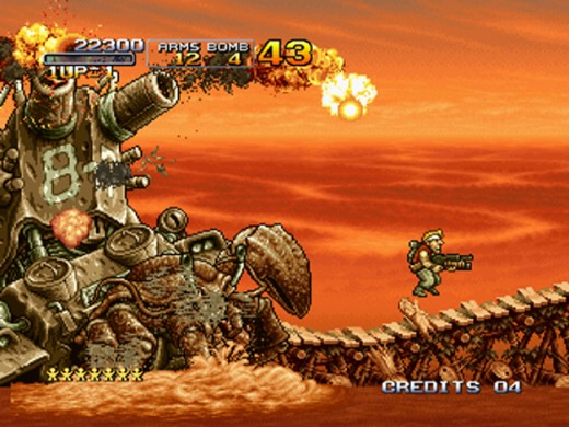 Marco fighting the first boss from Metal Slug 3. Its epic battles like these that need to make a comeback in the 8th edition of the franchise.