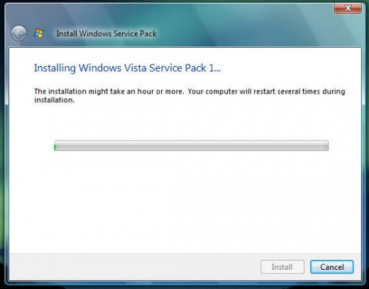 Installing Windows Vista Service Pack 1