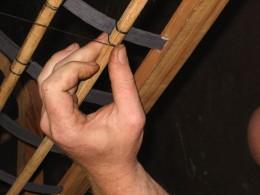 Lashing detail: oak ribs, cedar gunwales & scantlings