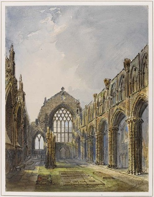 Built beside Holyrood Palace in 1168, damaged in the Reformation. Painted by Jane Stewart Smith in 1868. [Photos this page, public domain.]