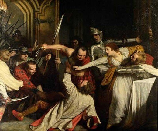 """The Murder of David Rizzio"" by John Opie in 1787."