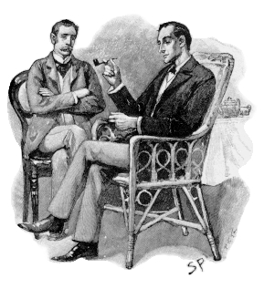 Sherlock Holmes and Dr. John Watson. September 1893, in the Strand Magazine; by Signey Paget (1860-1908).