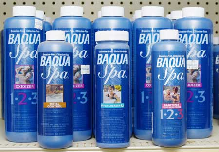BAQUA SPA makes a complete line up of Chemical Treatments for Spa and Hot Tub Water Maintenance