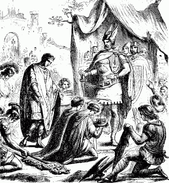 Romulus Augustus resigns the Crown before Odoacer
