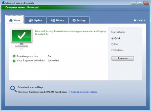 Snapshot of Microsoft Security Essentials